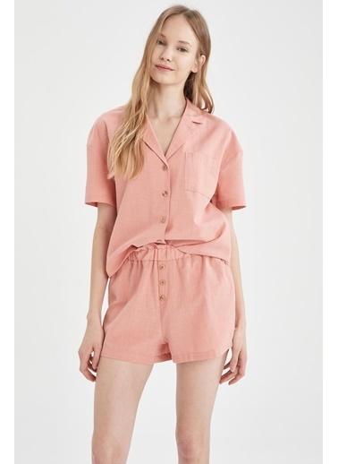 DeFacto Gömlek Yaka  Kısa Kol Pijama Üstü Bordo